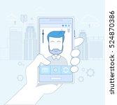 hand hold cell smart phone... | Shutterstock .eps vector #524870386