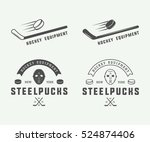 set of vintage hockey emblems ... | Shutterstock .eps vector #524874406