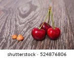Three Red Ripe Juicy Cherries...