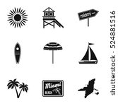 city miami icons set. simple... | Shutterstock .eps vector #524881516