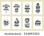 set of 8 cards or posters with... | Shutterstock .eps vector #524892502