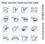 roof gutter or rain gutter for... | Shutterstock .eps vector #524892946