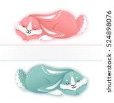 sleeping cartoon rabbit. funny...   Shutterstock .eps vector #524898076