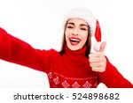 Cheerful Woman In Santa Hat...