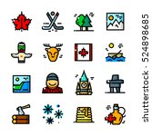 thin line canada icons set ... | Shutterstock .eps vector #524898685