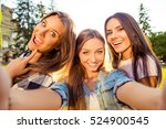 three attractive cheerful best... | Shutterstock . vector #524900545