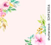 pink watercolor flower frame.... | Shutterstock . vector #524913016