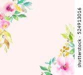 cute  pink watercolor flowers... | Shutterstock . vector #524913016