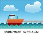 ship docking on the pier vector ... | Shutterstock .eps vector #524916232