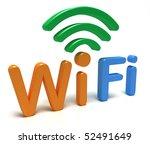 wifi logo. 3d concept | Shutterstock . vector #52491649