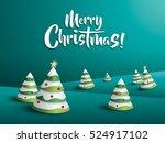merry christmas landscape.... | Shutterstock .eps vector #524917102