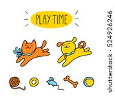 Stock vector little cat and little dog are playing with pet toys children vector illustration cute character 524926246
