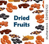 dried fruits. vector poster... | Shutterstock .eps vector #524931922