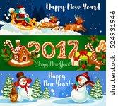 christmas banner with santa... | Shutterstock .eps vector #524931946