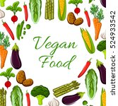 vegan poster of vector farm... | Shutterstock .eps vector #524933542