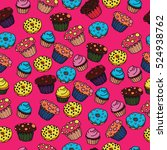 bright background with pastry... | Shutterstock .eps vector #524938762