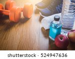 fitness equipment. healthy food.... | Shutterstock . vector #524947636