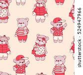 seamless pattern with funny... | Shutterstock .eps vector #524947966