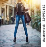 fashionable young blonde girl... | Shutterstock . vector #524951662