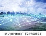 modern city skyline and mesh... | Shutterstock . vector #524960536