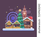 winter fair in christmas town... | Shutterstock .eps vector #524963242