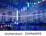 financial data on a monitor as... | Shutterstock . vector #524966095