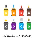 colorful recycle bins set with... | Shutterstock .eps vector #524968045