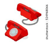 red old phone set isometric...