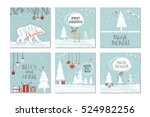 set of 6 cute gift cards and... | Shutterstock .eps vector #524982256