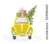 Yellow Retro Car With Christmas ...