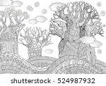 baobab tree. african tree.... | Shutterstock . vector #524987932