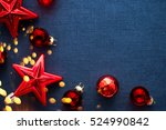 christmas background with red... | Shutterstock . vector #524990842