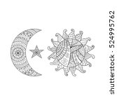 hand drawn sun  new moon and... | Shutterstock .eps vector #524995762
