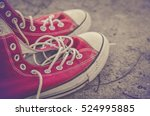 Vintage Retro Red Shoes   High...