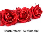 Stock photo red fabric roses isolated on white background 525006502