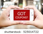 hand holding smart phone with... | Shutterstock . vector #525014722