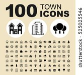 simple set of town related... | Shutterstock .eps vector #525025546