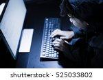 hooded computer hacker stealing ... | Shutterstock . vector #525033802