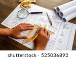 mechanical engineer at work.... | Shutterstock . vector #525036892
