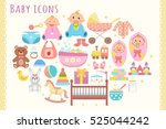 baby flat icons set.  | Shutterstock .eps vector #525044242