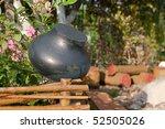 A Large Black Iron Pot