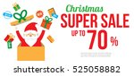 christmas sale with cute santa... | Shutterstock .eps vector #525058882