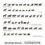 vector black set of silhouettes ... | Shutterstock .eps vector #525060196