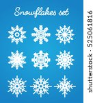 set of various snowflakes on... | Shutterstock .eps vector #525061816