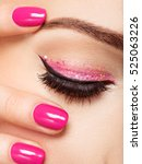 closeup woman face with pink... | Shutterstock . vector #525063226