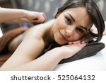 beautiful woman lying on a... | Shutterstock . vector #525064132
