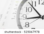 collage with round clock and... | Shutterstock . vector #525067978