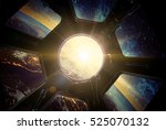 earth and galaxy in spaceship... | Shutterstock . vector #525070132