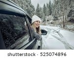 woman at winter time. yoyng... | Shutterstock . vector #525074896