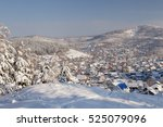winter snowy mountain valley... | Shutterstock . vector #525079096